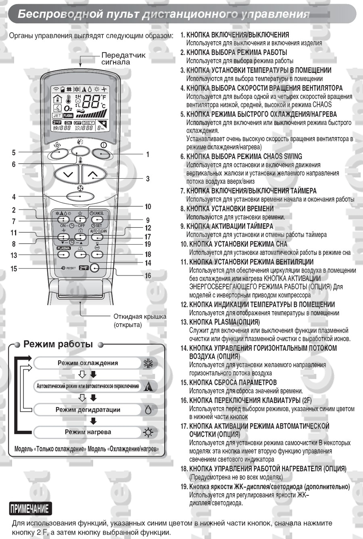 инструкция на кондиционеры lg neo plasma